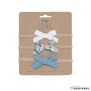 Trio of headbands with fabric bow | Light blue gray, blue and red flowers, denim