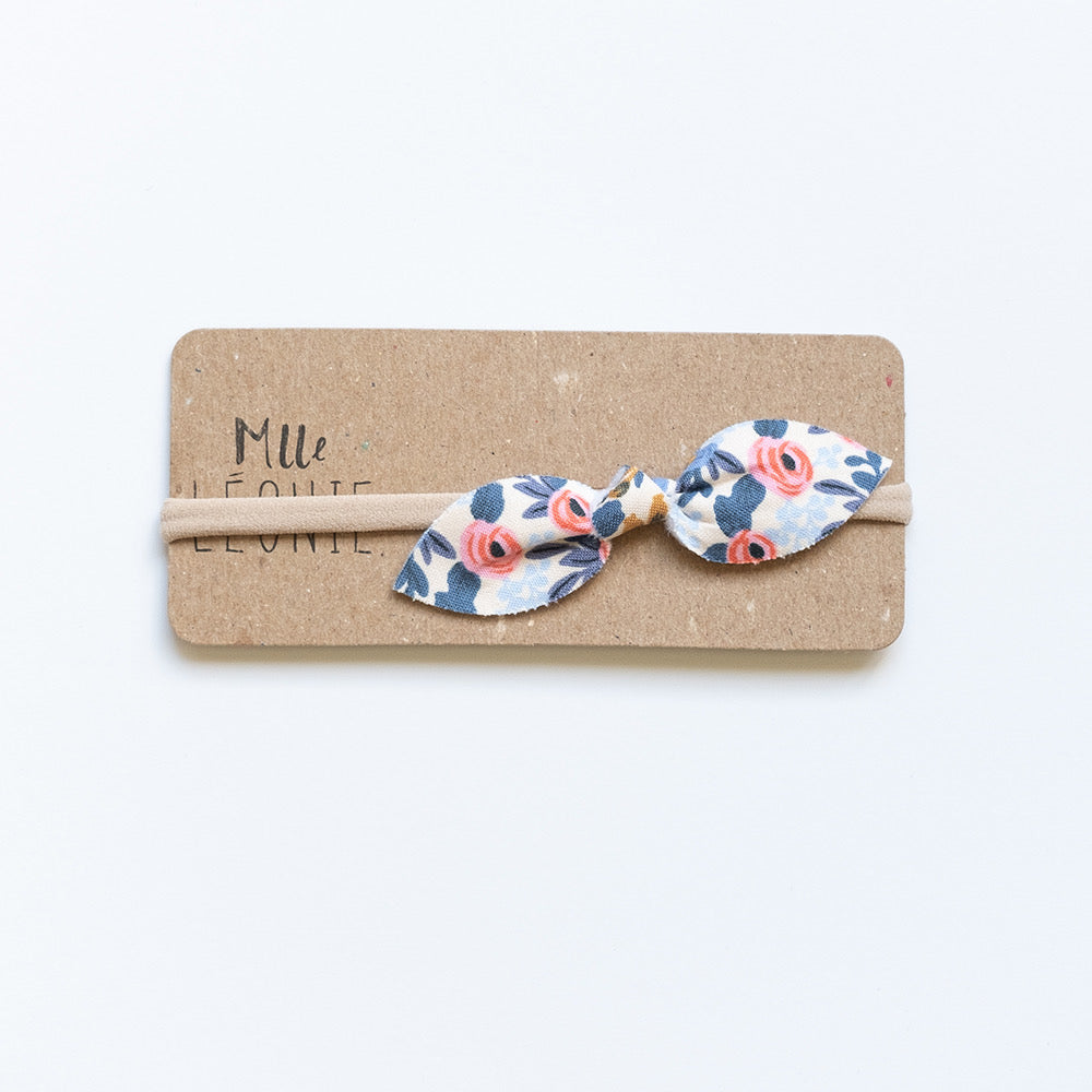 Headband with butterfly bow | Blue flowers and coral