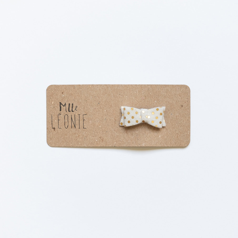 Mini wool hair clips | Gold-dot white