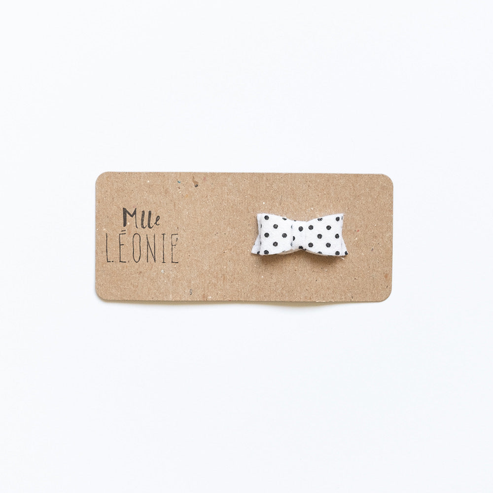 Mini wool hair clips | Black-dot white