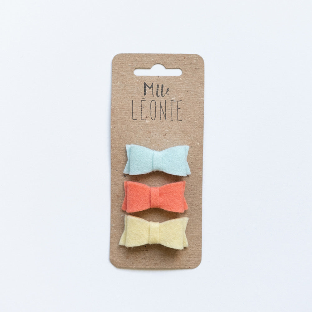 Trio of mini wool hair clips | Pale turquoise, papaya, pale yellow
