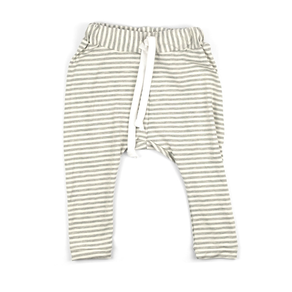 Bamboo Terry Trousers | Grey Stripes