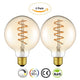 Vintage Edison LED Light Bulb Lamp Globe G80 Dimmable Spiral Flexible LED Filament Bulb E27 Base Warm White 2200K 4W Equivalent 25W Amber Color [Energy Class A++] 2 Pack