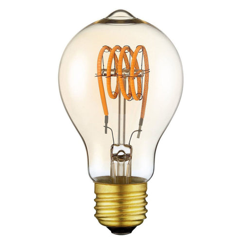 Vintage Edison LED Light Bulb A19 Spiral Flexible LED Filament Bulb E26 Base Dimmable Warm White 2200K 140 Lumen 4W Equivalent 25W Amber