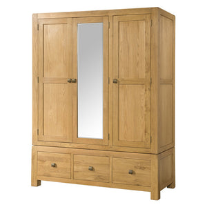 sway-oak-triple-wardrobe-with-3-drawers-and-mirror