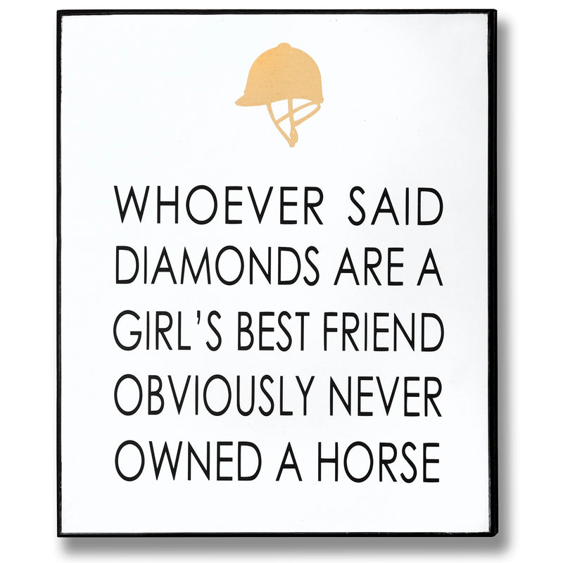 'Never Owned A Horse' Gold Foil Wall Plaque