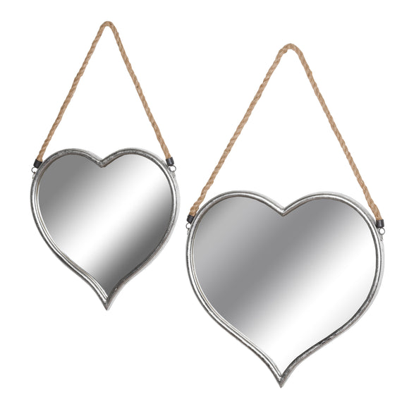 Set of 2 Silver Heart Mirrors