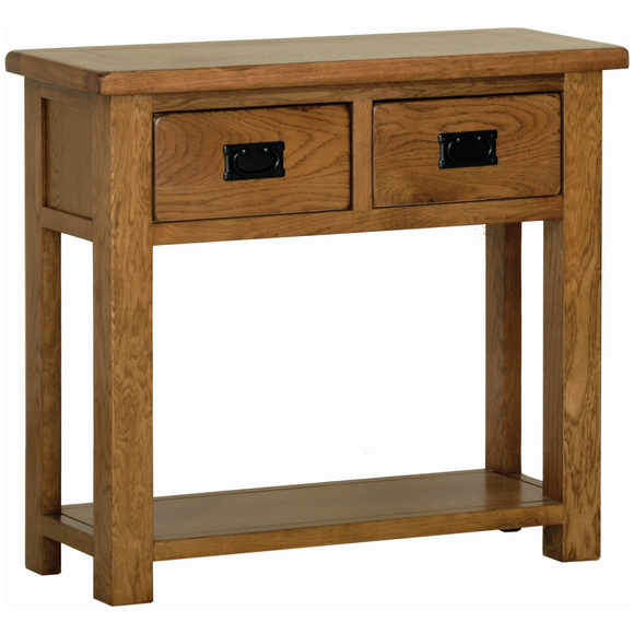 Petersfield Oak 2 Drawer Console Table