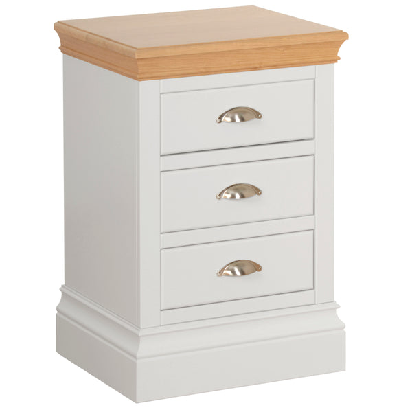 Eton White 3 Drawer Bedside