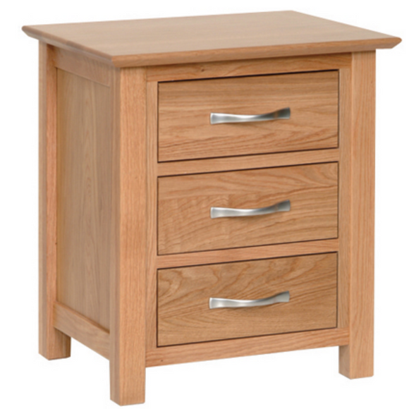 Hampshire Oak 3 Drawer Bedside