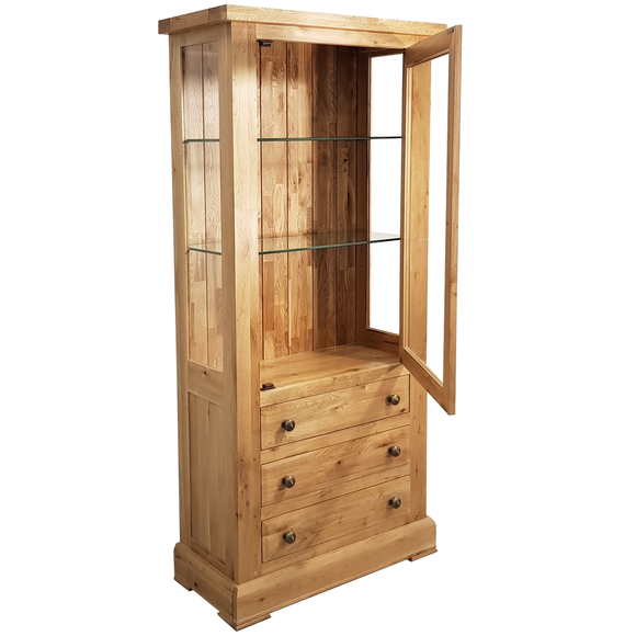 French Oak Glazed Display Cabinet