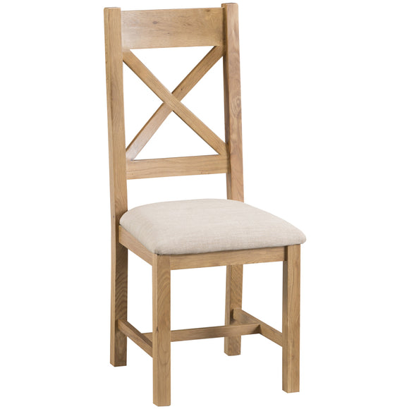 Country Oak Cross Back Chair Fabric Seat