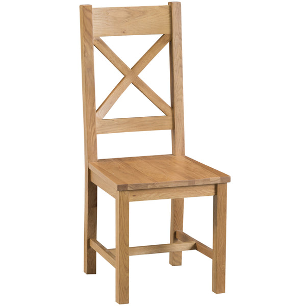 Country Oak Cross Back Chair Wooden Seat