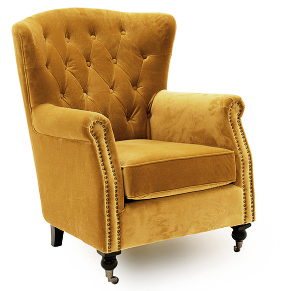 Balmoral Wingback Chair Mustard