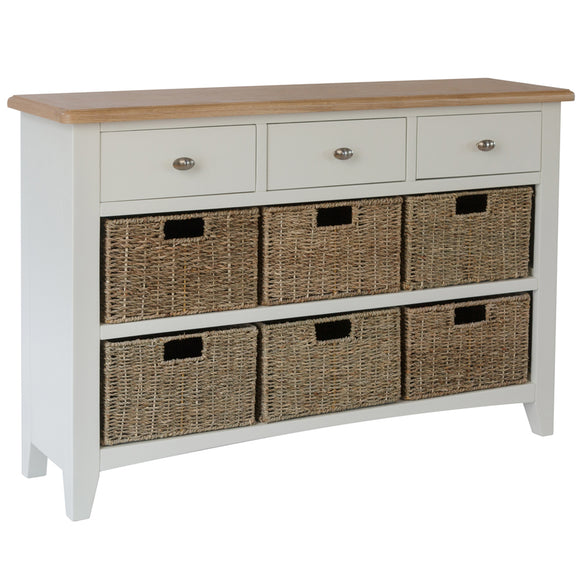Chichester Painted 3 Drawer 6 Basket Unit