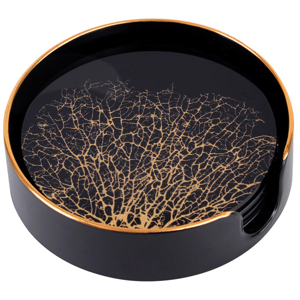 Set of 4 Black and Gold Coral Coasters & Holder