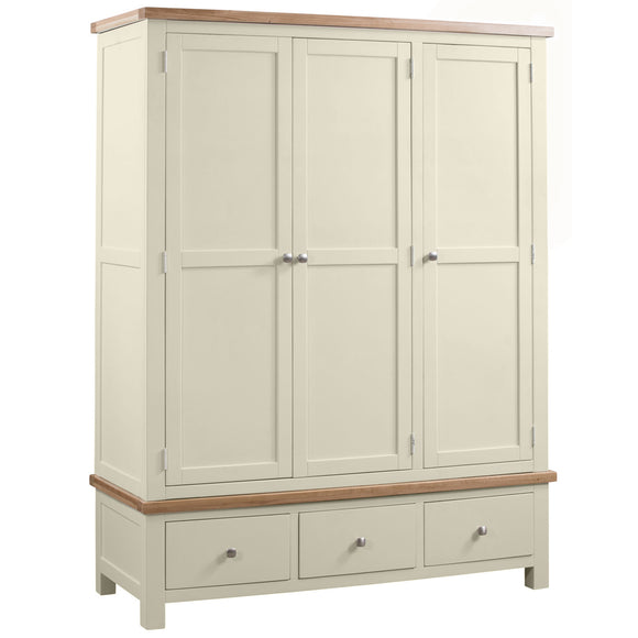 Lymington Painted Triple Wardrobe with 3 Drawers