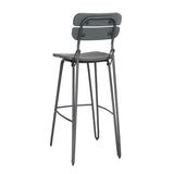 Wooden Industrial Bar Stool - Grey