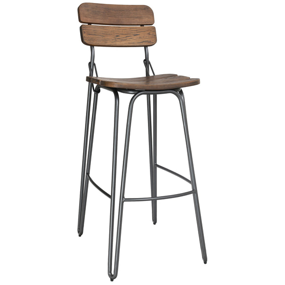 Wooden Industrial Bar Stool - Rustic