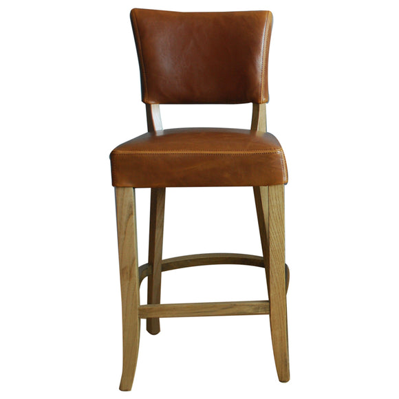 Tan Brown Leather Bar Stool
