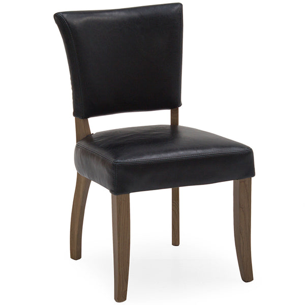Ink Blue Leather Dining Chair