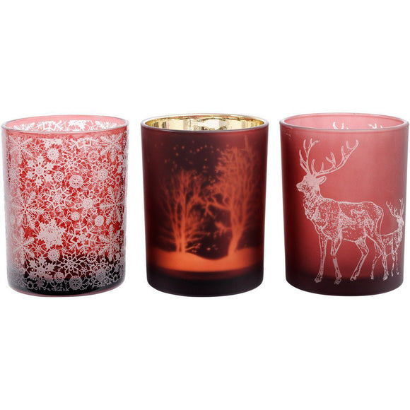 Set of 3 Large Red Festive Tealight Holders
