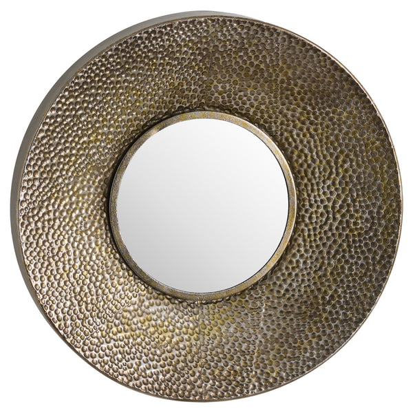 Hammered Bronze Round Wall Mirror