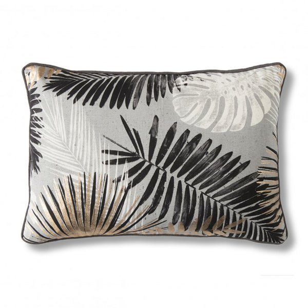 Gold & Grey Palm Leaf Cushion