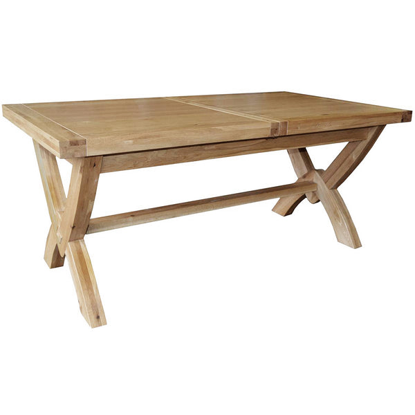 French Oak Ox Bow Extending Dining Table 2 Leaves
