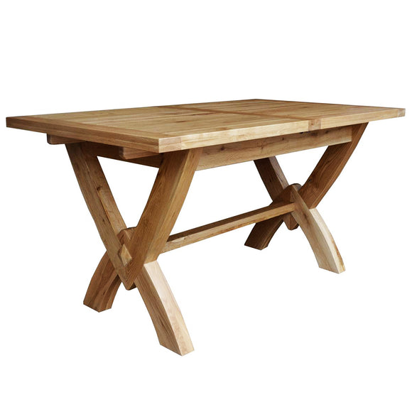 French Oak Petite Ox Bow Extending Dining Table 2 Leaves
