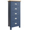 Canterbury Blue 5 Drawer Narrow Chest