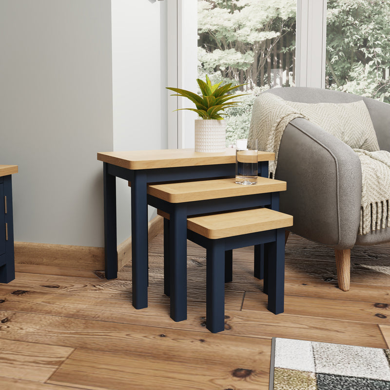 Canterbury Blue Nest of 3 Tables