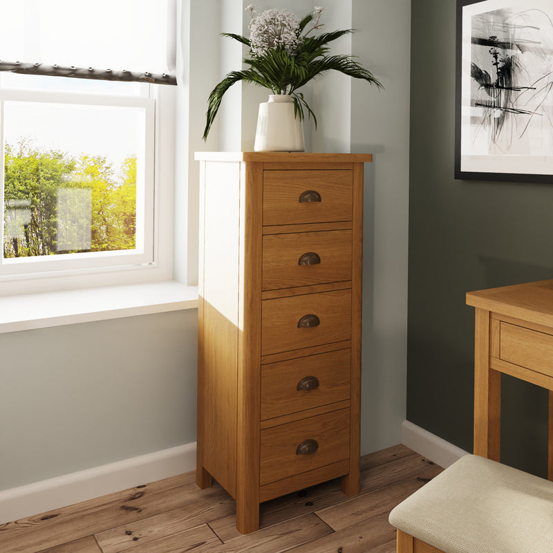 Canterbury Oak 5 Drawer Narrow Chest