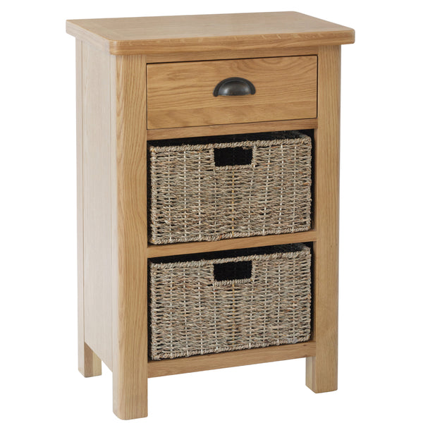 Canterbury Oak 1 Drawer 2 Basket Unit
