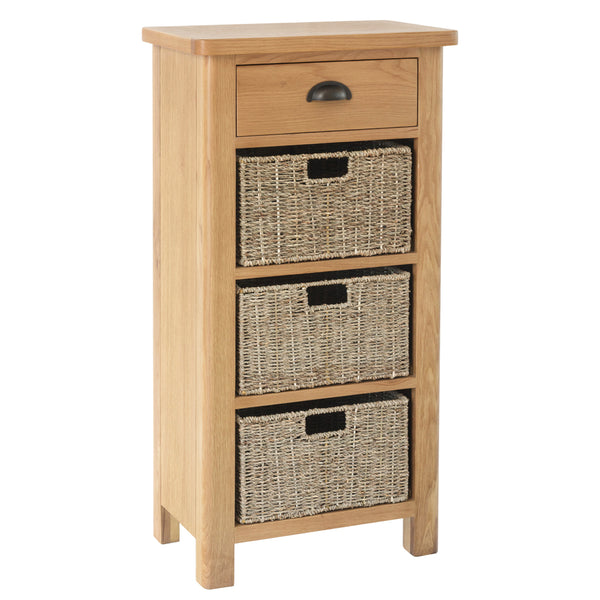 Canterbury Oak 1 Drawer 3 Basket Unit