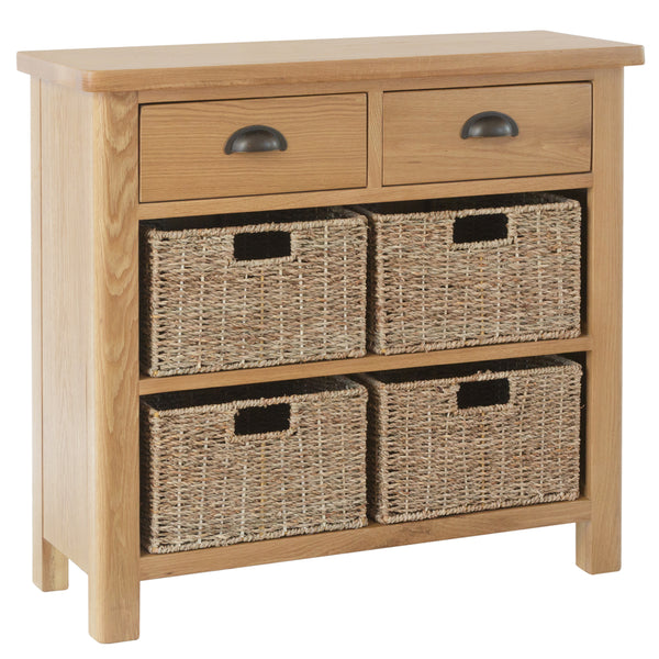 Canterbury Oak 2 Drawer 4 Basket Unit