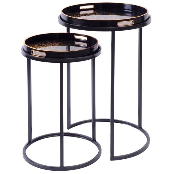 Black Coral Set of Side Tables