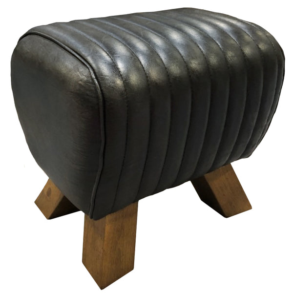 Sherlock Black Leather Pommel Horse Stool