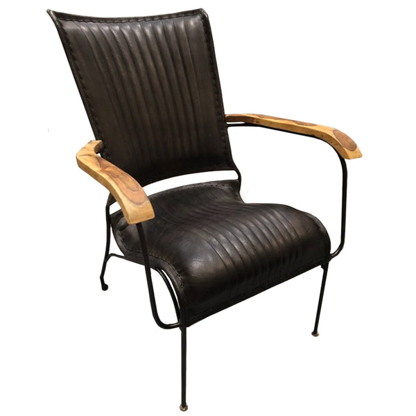 Sherlock Reading Chair - Black Leather