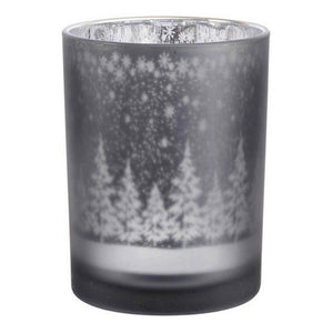 Large Smokey Silver Festive Tealight