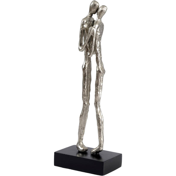 Silver Kissing Couple Sculpture