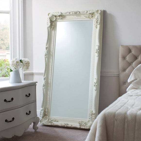 Cream Carved Vienna Leaner Mirror