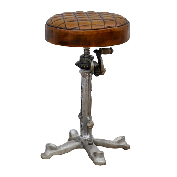 Industrial Leather Wind Up Stool