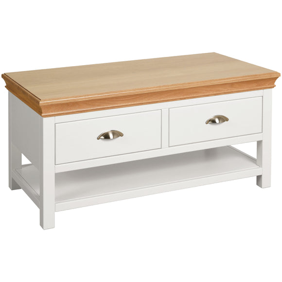 Eton White Coffee Table with 2 Drawers
