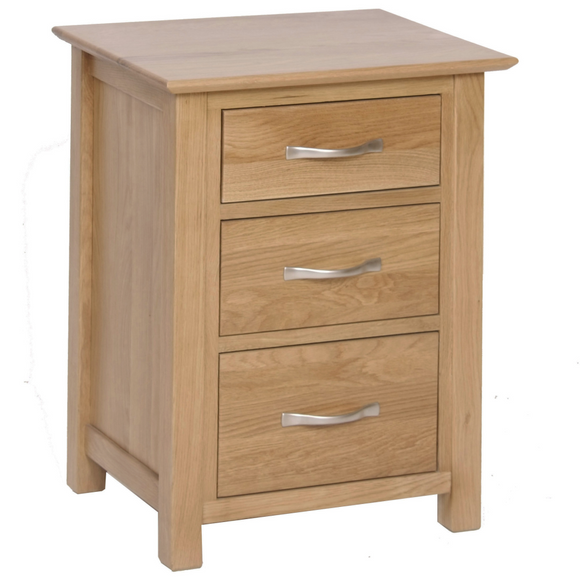 Hampshire Oak 3 Drawer High Bedside