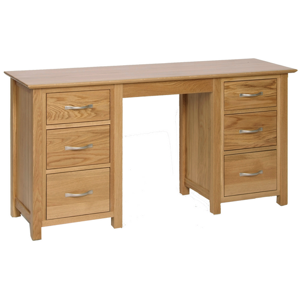 Hampshire Oak Double Pedestal Dressing Table