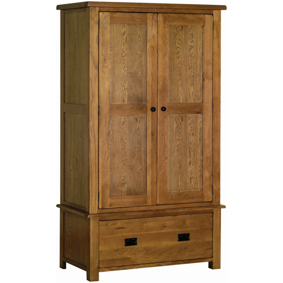 Petersfield Oak Gents Wardrobe with Drawer