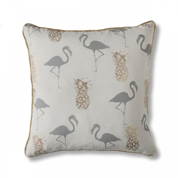Flamingo & Pineapple Grey Cushion