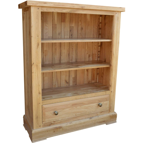 French Oak Low Wide Bookcase with Drawer