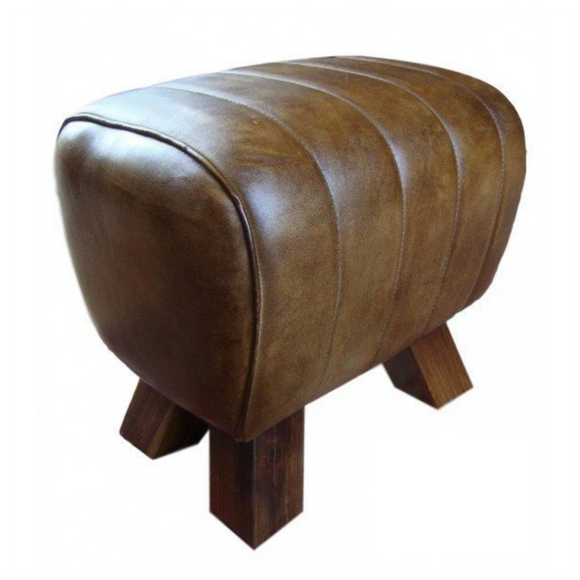 Sherlock Brown Leather Pommel Horse Stool